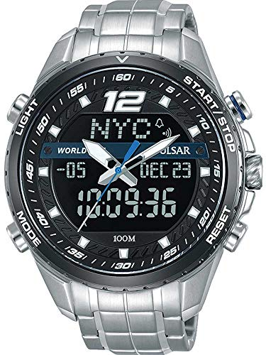 Pulsar Herren Analog-Digital Quarz Uhr mit Edelstahl Armband PZ4027X1