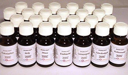 Saunaduft Box/Saunaaufguss Set mit 25 x 15 ml Flaschen + gratis 10g Mentholkristalle