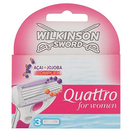 Wilkinson Sword Quattro for Women Klingen Acai + Jojoba, 3 Stück