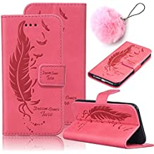 Coque Plume Etui pour Huawei P9 Housse Huawei P9 Coque Portefeuille,Vandot PU Cuir Etui Huawei P9 Coque de Protection en Cuir Folio Housse Huawei P9 Leather Case Wallet Flip Protective Cover Protector Etui + Fashion Pendentif Charm Hairball