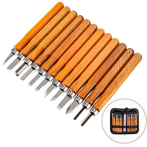 YXMxxm Holzschnitzerei-Set 12-TLG. Holzschnitzerei-Messerset für Gummi, Kürbis, Seife, Gemüse und mehr für Kinder und Anfänger
