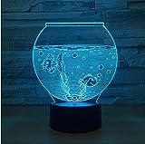 Forma del tanque de peces de acrílico 3D Night Light Led Illusion Usb Rgb Night Light Lámpara de escritorio Decoración para el hogar Regalo de vacaciones Atmósfera Decoración lámpara
