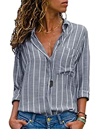 0c1e7cf1a7e AitosuLa Women s Casual V Neck Stripe Chiffon Blouse Loose Button Down Long  Sleeve Shirt Tunic Tops