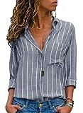 AitosuLa Bluse Gestreift Damen Hemd Oberteile V-Ausschnitt Lose Casual Chiffon Langarm T-Shirt Top Tunika Elegant Langarmshirt Streifen Grau Weiß M (Textilien)