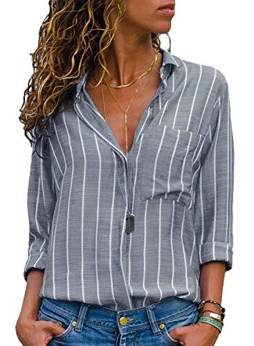 AitosuLa Bluse Gestreift Damen Hemd Oberteile V-Ausschnitt Lose Casual Chiffon Langarm T-Shirt Top Tunika Elegant Langarmshirt Streifen Grau Weiß M