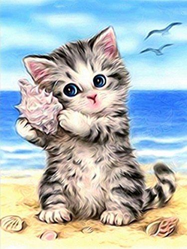 ShuoBeiter 5D Diamant Kits Malen nach Zahlen DIY Diamant Malerei Kit für Erwachsene Kinder Kreuzstich Stickerei Kunst Handwerk Wand-dekor Weihnachten Geschenke (Cat 1) (Kinder-handwerk-ideen Für Halloween)