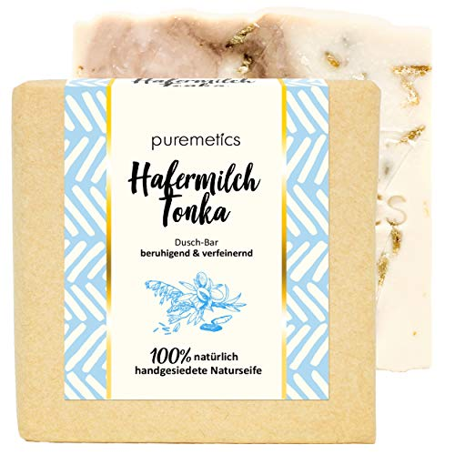puremetics DuschBar Hafermilch Tonka   100% vegane Naturkosmetik   Handgesiedete Naturseife   Duschseife   beruhigende & verfeinernde Seife   Festes Duschgel für empfindliche- & Problemhaut