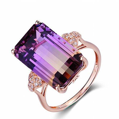 Luxuriöse Mikro Intarsien Turmalin Ring Plated 8K Rotgold Farbigen Edelstein Ornament Geometrische Diamant Damen Sterling Silber Intarsien Edelstein, Turmalinring, 7 (Farbige Ringe Edelstein-hochzeit)