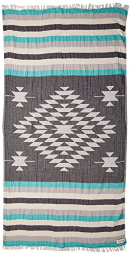 Bersuse 100% cotone - asciugamano turco carmen - certificato oeko-tex - peshtemal fouta per bagno e spiaggia - pestemal tessuto a mano con design azteco - 100x180 cm, nero/menta