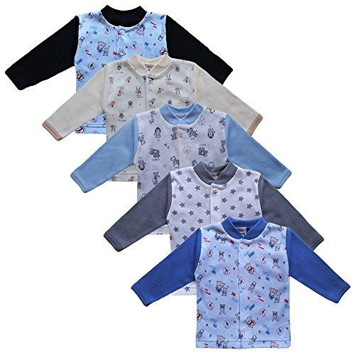 MEA BABY Unisex Baby Jäckchen Langarmshirt 5er Pack. Baby Shirt. Baby Jacke Jungen Baby Jacke Mädchen (74, Jungen)