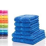 Etérea Carli 6 tlg. Handtuch Handtuchset, 4x Handtücher, 2x Duschtücher - Blau|Qualitäts Frottierware 500 g/m² 100% Baumwolle