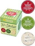 Avery Zweckform 56828 Sticker auf Rolle, Merry Christmas (38 mm, im Spender) 50 Aufkleber