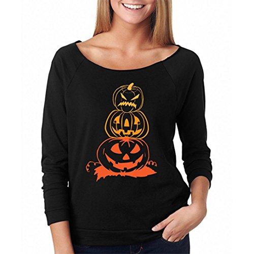 Halloween Kürbis Langarm Sweatshirt Hoodie Print Pullover Hemd Von Xinan (L, (Kürbis Halloween Hohlen)