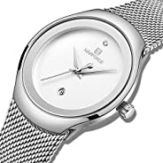 Naviforce Women's White Dial Stainless Steel Mesh Chronograph Watch - NF500