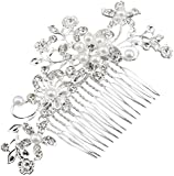 Leegoal Bridal Silver Diamante Hair Comb Clip for Wedding/Party/Prom