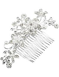 TOOGOO (R) Fascinante nupcial Crystal perla diamante peine del pelo presilla