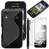 ebestStar - Coque Samsung Galaxy Ace S5839i, S5830, S5830i [Dimensions PRECISES de votre appareil : 112.4 x 59.9 x 11.5 mm, écran 3.5''] - Housse Etui Coque Silicone Gel Motif S-line Souple + Stylet tactile + 3 Films protection écran, Couleur Noir
