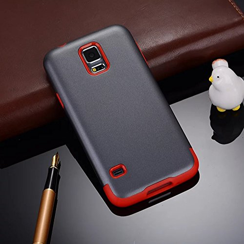 YHUISEN Galaxy S5 Case, 2 In 1 PC + TPU Dual Layer Armor Hybrid Schutz Schock Absorption Hard Back Cover Case für Samsung Galaxy S5 I9600 ( Color : Gray Green ) Gray Red