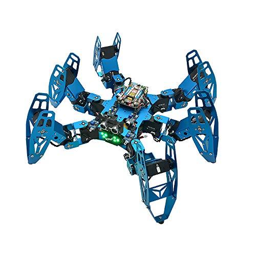 ETHAN 18dof Hexapod Robot a Sei Zampe Ragno Robot Kit Kit Fai da Te, Struttura Blu