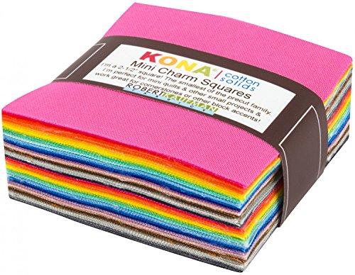 Kona einfarbige Mini-Stoffquadrate für Quiltingarbeiten, von Robert Kaufman, in verschiedenen Regenbogen-Farben, 6 x 6 cm, 84 Stück -