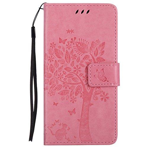 Guran® PU Leder Tasche Etui für Microsoft Lumia 640 Dual-SIM Smartphone Flip Cover Stand Hülle und Karte Slot Case-rosa