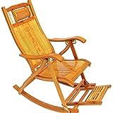 RFJJAL Bambus Schaukelstuhl Klappstuhl Outdoor Balkon Erwachsenen Nap Multifunktionale Freizeit Stuhl