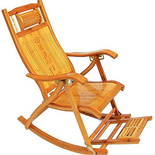 Poltrone reclinabili di bambù sedia a dondolo per adulti poltrona facile da pranzo pieghevole pausa pranzo multifunzionale casa di bambù anziani sedia per il tempo libero