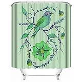 HUIYIYANG Kundenspezifischer Duschvorhang, Nette grüne Vogel-Aquarell-Farben-Kunst-Entwurfs-Wasserdichter Anti-Mehltau-Gewebe-Polyester-Badezimmer-Duschvorhang36 x 72