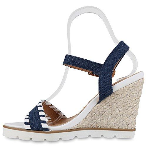 Damen Sandaletten Bast Wedges Keilabsatz Sommerschuhe Plateau Blau Denim
