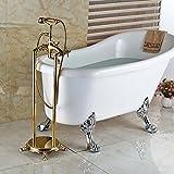 Galvanik Retro Wasserhahn Luxus Dual Kreuzgriffe Golden Floor Mount Badewanne Dusche Wasserhahn Telefon Style frei stehende Wanne Mischbatterien, Multi