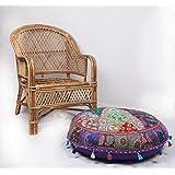 jth bohemio tradicional Patchwork Indian puf Otomano grande y redondo asiento puf (tamaño: 32x 9x 32inch)