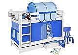 Etagenbett JELLE TÜV & GS geprüft 90 x 190 cm Blau gestreift - Spielbett LILOKIDS - weiß - mit Vorhang und Lattenroste