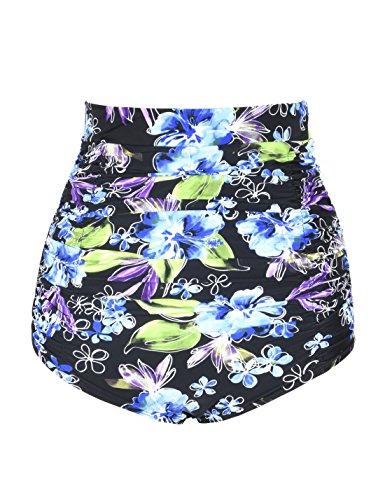 Hilor Damen Vintage High Taille Bikini Bottom Gefaltet Tankini Slips Bikinihose Badehose Blau Floral 48 -