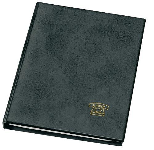 Veloflex 5158180 Telefonringbuch A5, Adressbuch, Telefonbuch, Weichfolie in Leder-Optik, mit Register, schwarz