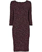 Damson Boucle Tweed Shift Dress