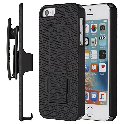 Apple Iphone 5 Shell (iPhone SE Fall, iPhone 5 5S Fall, Kuscheldecke Moona Shell Combo für Apple iPhone SE und iPhone 5/5S mit Kickstand & Belt Clip 10 Jahre Garantie - iPhone SE & 5S dünn Gürtelclip Fall)