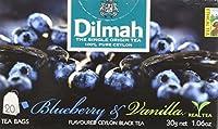 Dilmah Fun Tea, Blueberry & Vanilla, Single Origin Pure Ceylon, 20 Count String & Tag, Pack of 6