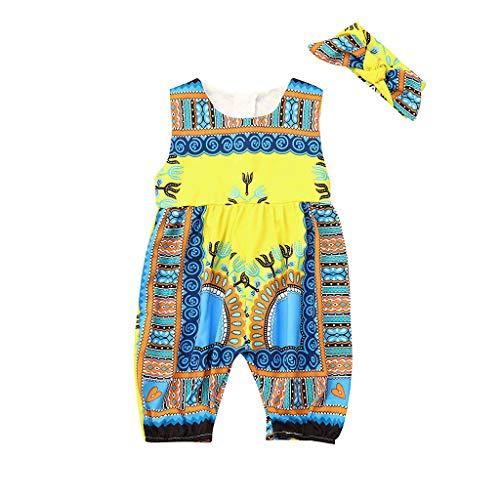 Hunpta@ Kleider für Mädchen,Kleinkind Kinder Baby Mädchen Outfits Kleidung Afrikanischen Print Ärmelloses Spielanzug Overall (Afrikanische Kleidung Für Mädchen)