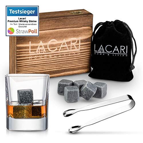 TESTSIEGER: SEHR GUT - Lacari ® [9x] Whisky Steine - Wiederverwendbare Speckstein Eiswürfel - GRATIS Holzbox sowie Edelstahl Zange & Gratis Ebook - Perfektes Geschenkset