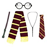 Kids School Boy Wizard Fancy Dress Costume Accessories (Glasses, Elastic Tie, Scarf & Wand) by Robelli