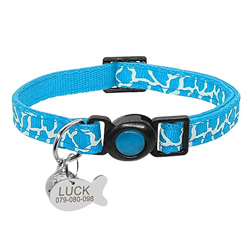 XIAOLANGTIAN Quick Release Cat Safety Collar with Bell Personalized Kitten Cats Adjustable Collars Nylon Engraved Dog Id Tag for Small Pets,Blue,Xs -