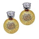 tumundo Doppel-Kugel Perlen-Ohrringe Damen-Schmuck Ohrstecker Krone Glitzer-Stein Front-Back Modeschmuck Glitzer Strass, Farbe:golden