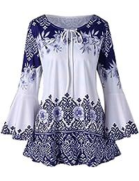 ❤️Camisas Mujer Tallas Grande,Amlaiworld Moda Blusas de Manga Larga Estampadas para Mujer Blusas