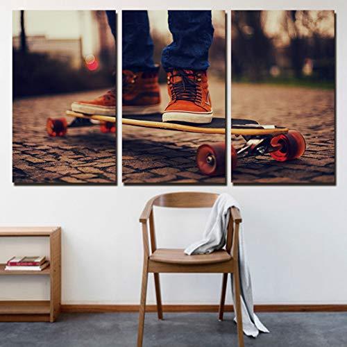 ZXCVWY 3 Platten Leinwand Malerei Dekoration Leinwand Abstrakte Skateboard Wandkunst Bilder Malerei Für Wohnzimmer Drucke