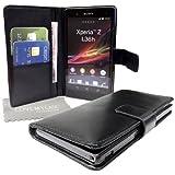 StyleBitz NOUVEAU étui portefeuille en cuir PU pour Sony Xperia Z avec tissu de nettoyage LMC (noir)