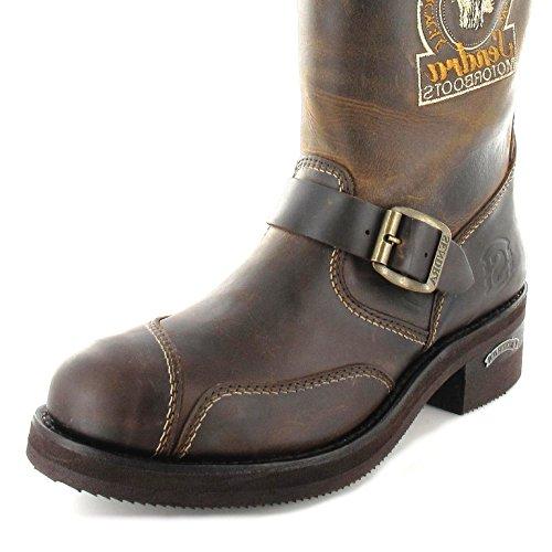 Sendra Boots 3565 Mad Dog Tang Lederstiefel mit Stahlkappe für Damen und Herren Engineerstiefel Braun Tang