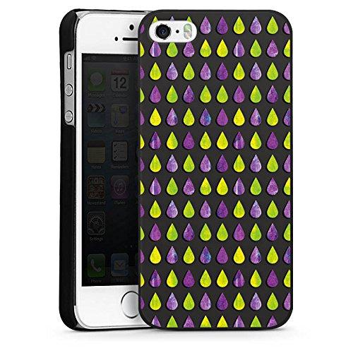 Apple iPhone 5s Housse Étui Protection Coque Pluie Gouttes Motif CasDur noir