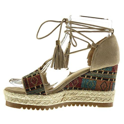 Sandali kaki con tacco a zeppa per donna Angkorly z0p8Uu