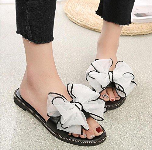 LDMB Damen rutschfeste, atmungsaktive Pantoffeln Süße Blumen Strandschuhe Soft Falt Bottom Damen Sandalen White