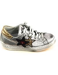 2Star - Zapatos de cordones para mujer Gris plateado